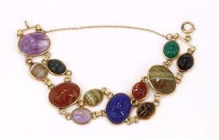 14KY Gold Stone Scarab Bracelet