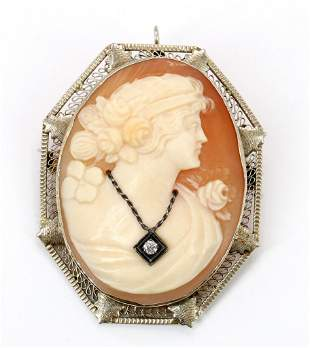 14KW Gold Shell Cameo Brooch Pendant