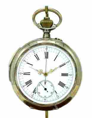 Silver Repeater Hour - Quarter Hour Pocket Stop Watch