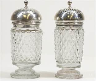 Georgian Sterling Silver and Glass Muffineers