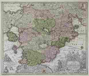 18th c. Map of Fantasy Utopia by Johann Baptist Homanns