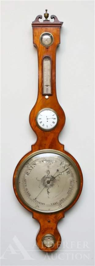 English Mahogany Veneer Wheel Barometer