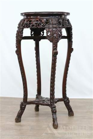 Carved Rosewood Chinese Plant Stand