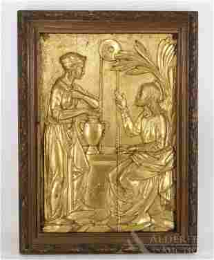 Gilt Gesso On Wood Religious Panel