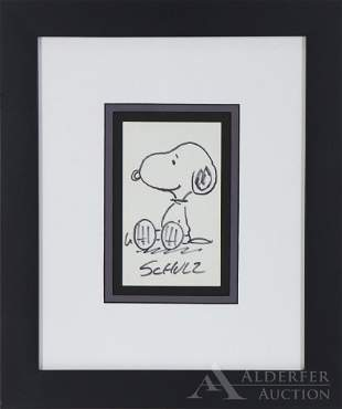 "Peanuts Original Pen & Ink Drawing of ""Snoopy"""