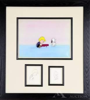 Peanuts Original Production Cel of Snoopy & Shroeder
