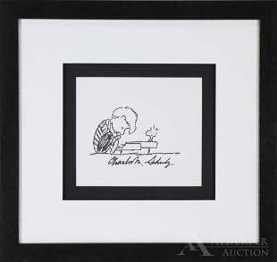 Peanuts Original Pen and Ink Drawing of Schroeder &