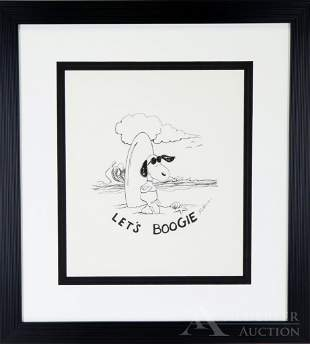 Peanuts Original Pen & Ink Drawing of Joe Cool