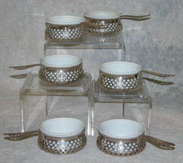 473: Sterling Silver Ramekins with Ceramic Li
