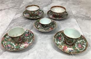 Rose Medallion Cups & Saucers