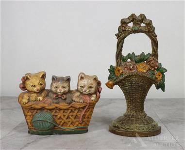 Cast Iron Cat & Bouquet Doorstops