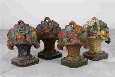 Cast Iron Flower Basket Doorstops