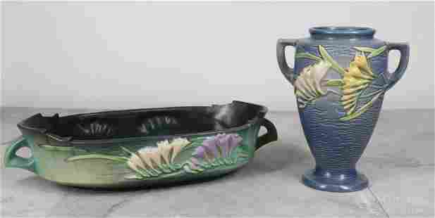 Roseville Pottery Freesia Vase & Console Bowl
