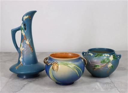 Roseville Pottery, Snowberry Ewer & Vase, & Pinecone