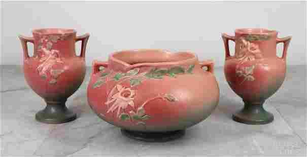 Roseville Pottery Columbine Small Vases & Handled Bowl