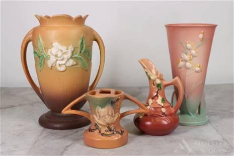 Roseville Pottery Gardenia Vase, Snowberry Ewer,