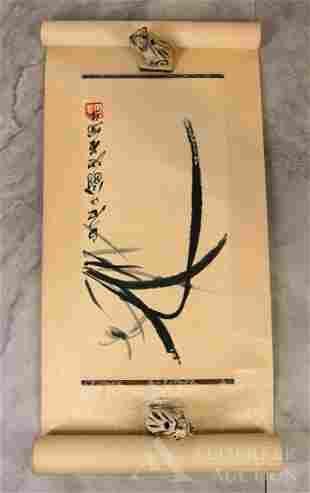 Qi Baishi (Chinese 1864-1957) Woodblock Print Scroll