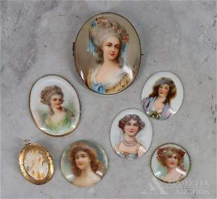 10k Gold Cameo, & Brooches