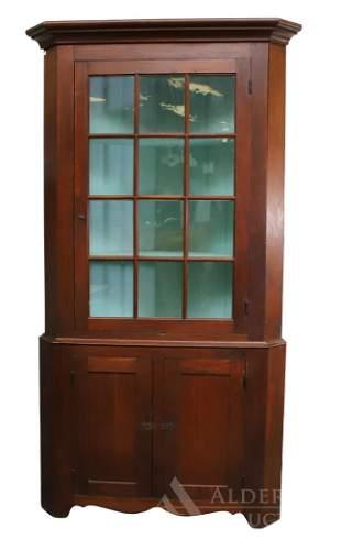 Federal Walnut Corner Cupboard