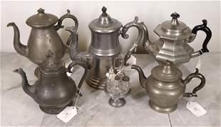 Pewter Coffee Pots, Teapots, & Caster Set