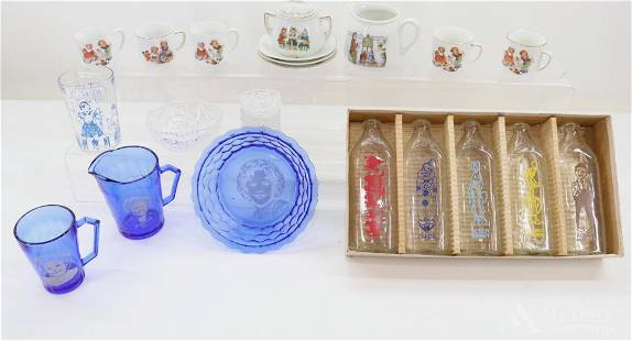 LOT OF ANTIQUE DOLL CHINA/GLASSWARE.