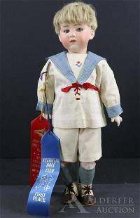 ANTIQUE BISQUE HEAD CHARACTER DOLL.