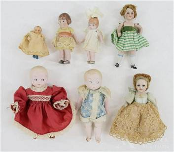 LOT OF ALL BISQUE DOLLS.