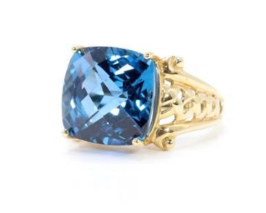 14KY Gold London Blue Topaz Ring