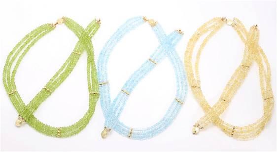 14KY Gold Pastel Gemstone Necklaces, Bracelets