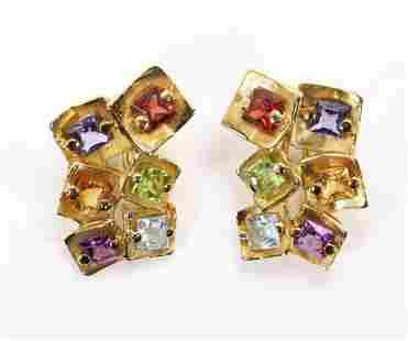 14KY Gold Gemstone Earrings