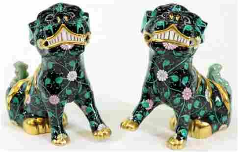 Herend Black Dynasty Foo Dogs