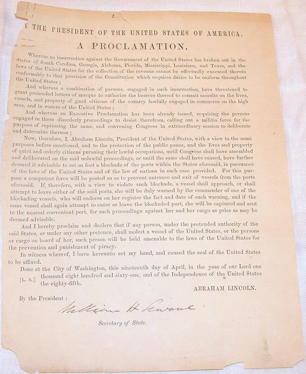 3: Civil War Circular/Proclamation-William Seward Signe
