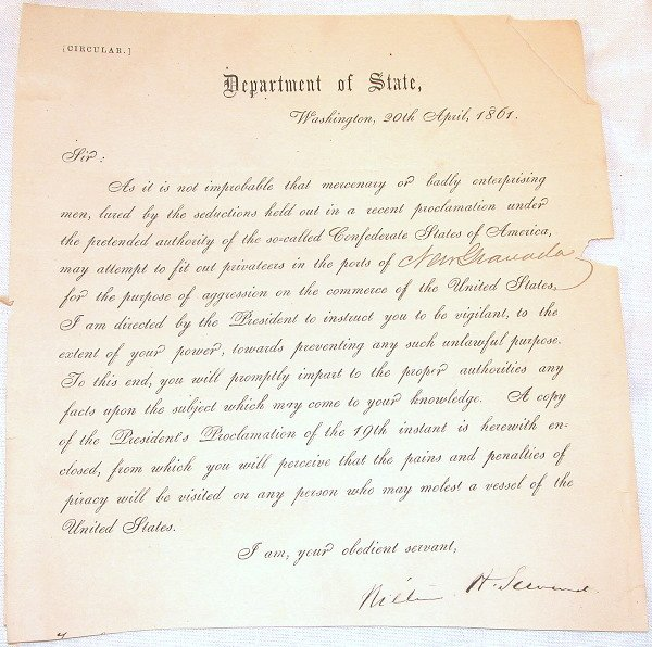 4: Civil War Department of State Circular-William Sewar