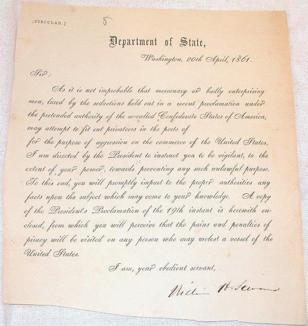5: Civil War Department of State Circular-William Sewar