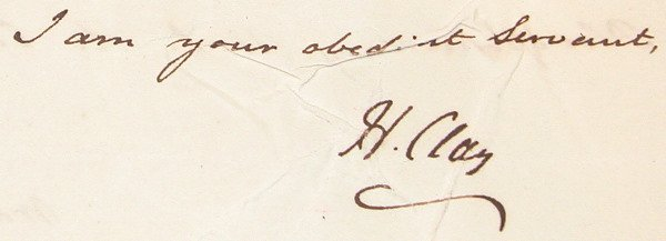 17: Autograph of Henry Clay.