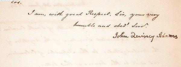 21: Autograph of John Quincy Adams.