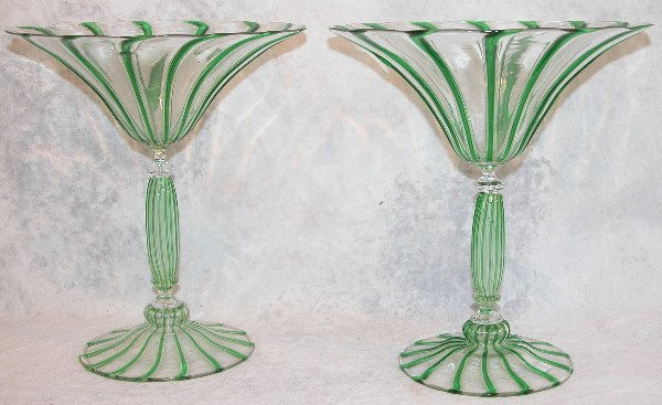 463: Two Venetian Glass Compotes.