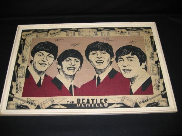 1107: Rare Framed Beatles Towel