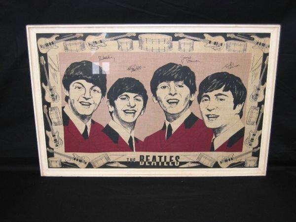 1107: Rare Framed Beatles Towel - 2