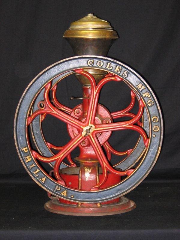 1144: Coles Mfg. Double Wheel Coffee Mill, Phila. PA, 1
