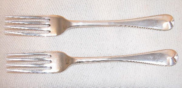 564: Two English Sterling Silver Forks - Chawner.