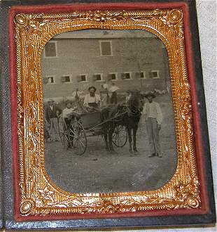 Outdoor Tintype of Factory, Men and Buggy