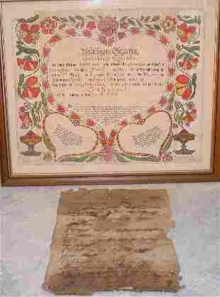 Pennsylvania German Printed Birth Certifi
