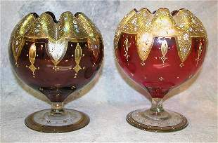 Two Glass Footed Bowls.