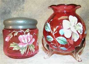 Cranberry Glass Lidded Jar and Footed Va