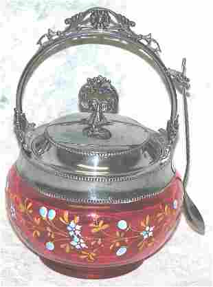 Cranberry Glass and Silver Plate Mayonna