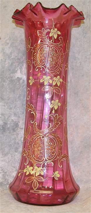 Cranberry Glass Vase.