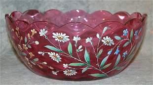 Cranberry Glass Bowl.