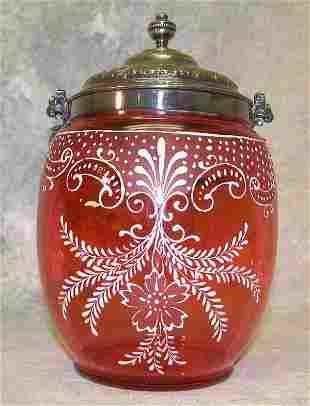 Cranberry Glass Biscuit Barrel.