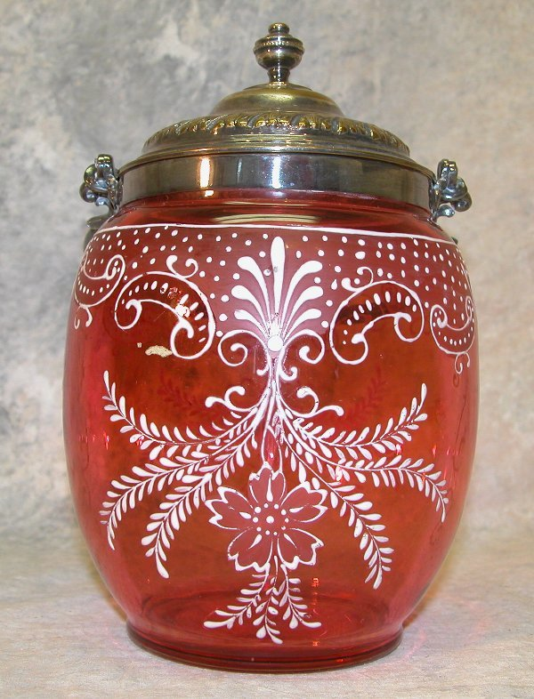 524: Cranberry Glass Biscuit Barrel.